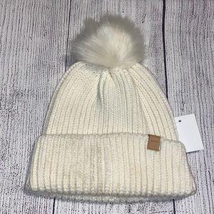 Obey winter white knit cable knit beanie w Pom Pom